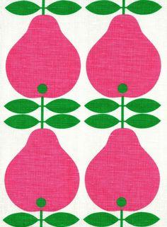 Image of Scandinavian tea towel koloni pink pears 50s vintage era fabric