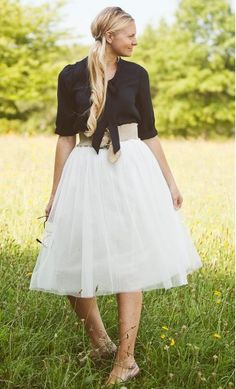 Womens Modest 5 Layer Mid-Length Solid Color Tulle Skirt available in black, wine, white and cranberry
