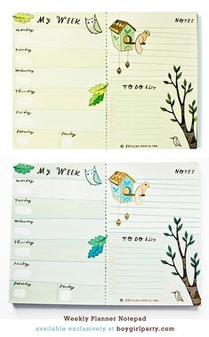 """so excited to present this Weekly Planner notepad! At 6x8"""", it's big enough to double as a mousepad, small enough to fit in your purse! http://www.boygirlparty.com/shoppe/mini-edition/item/weekly-planner-1.html"""