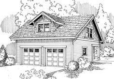 Garage Plan 20-007 - This Craftsman garage plan can park two cars. Both garage doors are 9' wide and 8' tall. On the second floor there is an art studio with a full bathroom.