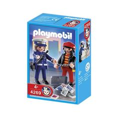 En lille æske med kvindelig Playmobil politibetjent og tyv der er perfekt supplement til din politistation og Playmobil CIty Action samling.