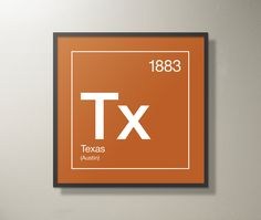 """Texas Periodic Table Print - 18"""" x 18"""" by SussiesHome on Etsy"""