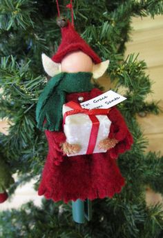Personalized Elf Christmas Ornament, Clothespin - Girl Elf with Gift