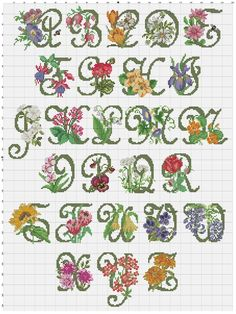 Cross stitch / Point de croix / Punto cruz / Punto croce Garden Alphabet / abecedaire / abecedario / alfabeto - chart / grille / scheme with colors & symbols