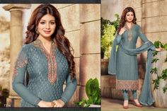Remarkable Grey Designer Salwar Suit. Fulfill your wish to look rich by clad in this beautiful designed Salwar Suit with Embroidered work. As shown as bottom and dupatta come with. Full Catalog Detail: http://www.addsharesale.com/catalogs/woman-dress/2049/7146