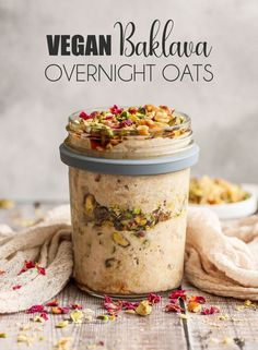 Vegan Baklava Overnight Oats would use honey since not vegan and no rose water otherwise looks so good. Vegan Baklava Overnight Oats would use honey since not vegan and no rose water otherwise looks so good. Oats Recipes, Gourmet Recipes, Vegan Recipes, Flour Recipes, Light Recipes, Vegan Baklava, Vegan Overnight Oats, Overnight Oats Water, Middle Eastern Desserts