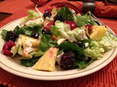Salad Greens with Berries, Cashews, and Goat Cheese - wonderful combination of flavors
