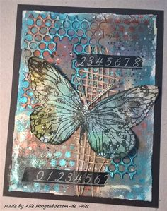 Stamped card, with Inka Golds and Distress Oxide, made by Alie Hoogenboezem-de Vries