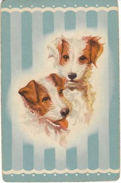 Vintage Playing Card Jack Russell Terrier Dogs Single Swap Trading Blue Stripe