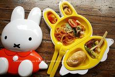 Miffy bento box. Bento Box, Lunch Box, Female Rabbit, Cute Bento, Kid Stuff, Cool Stuff, Miffy, Dinner Is Served, Chopsticks