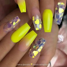 Yellow acrylic coffin nails design, Yellow gel nails design, Pastel yellow nails… - All For Hair Color Trending Neon Yellow Nails, Yellow Nails Design, Yellow Nail Art, Neon Nails, My Nails, Pastel Yellow, Color Yellow, Glitter Nails, Neon Acrylic Nails