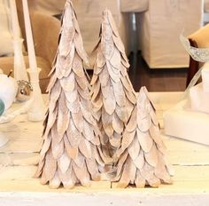 Give your tables some love this Christmas by making some Snow-Kissed Cardboard Mini Trees decorations. This cardboard Christmas tree uses thin cardboard that you can cut from cereal boxes or similar food boxes. Cardboard Tree, Cardboard Christmas Tree, Tabletop Christmas Tree, Real Christmas Tree, Cardboard Crafts, Winter Christmas, All Things Christmas, Christmas Holidays, Christmas Crafts