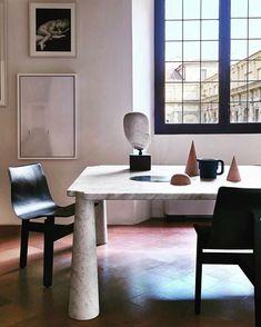 "163 Me gusta, 5 comentarios - @artedomus en Instagram: ""Angelo Mangiarotti: Timeless design. Eros marble table with Tre chairs @agapecasa…"""