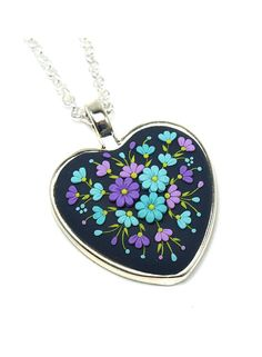 Heart Shaped Pendant Necklace Polymer Clay Jewelry by KittenUmka