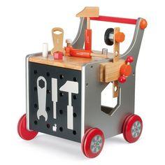 <STRONG>Janod </STRONG>houten gereedschapskar<BR>Een harstikke stoere loop kar met hamertje tik, schroeverdraaier, moeren etc...klussen maar!Super mooi kado voor de eerste verjaardag.<BR><BR>geschikt voor peuters vanaf 1.5 jaar