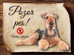 Cedulka  Airedalský Terrier - Pozor pes zákaz Terrier, Snoopy, Teddy Bear, Animals, Fictional Characters, Art, Animales, Craft Art, Animaux