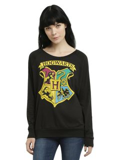 <p>Black pullover top from <i>Harry Potter</i> featuring a Hogwarts crest design representing the Gryffindor, Hufflepuff, Ravenclaw and Slytherin houses.</p>  <ul> <li>100% cotton</li> <li>Wash cold; dry low</li> <li>Imported</li> <li>Listed in junior sizes</li> </ul>