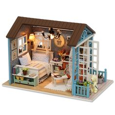 Doll Houses Trend Mark Kiwarm Miniatures Sofa Bedroom Bathroom Dining Table Furniture Sets For Doll House Craft Toys Acessories Christmas Birthday Gift