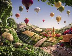 Projeto de paisagens feitas de comida, pelo fotógrafo Carl Warner.