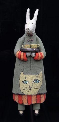 ceramic figure wall piece kanga rabbit by Sara Swink