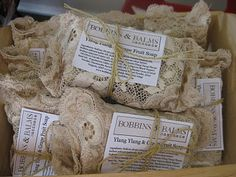 Soap packaged in lace