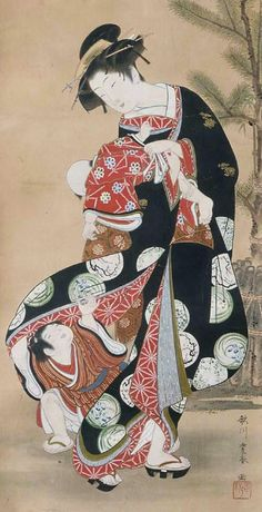 Woman and Child at the New Year. ink, color, and gold on silk. Japan, by artist Utagawa Toyoharu (歌川豊春, MFA (William Sturgis Bigelow Collection) ) Japanese Drawings, Japanese Artwork, Japanese Painting, Japanese Prints, Japanese Illustration, Illustration Art, Art Geisha, Art Occidental, Art Chinois