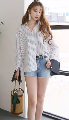 Looking hottie and chic in Daily About denim shorts!