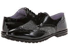 Johnston & Murphy Brit Wing Tip Black/White Tweed/Black Patent - 6pm.com