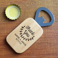 A #personalized Thank You Bottle Opener is a cute yet practical wedding favor! #WeddingFavors