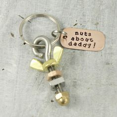 nuts about daddy keyring fathers day gift, father's day gift from kids, handyman, mechanic, blue collar gift, nuts and bolts, engineer gift