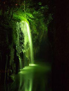 Manai Falls lit up, Takachiho, Miyazaki, Japan 真名井の滝ライトアップ #緑 #Green