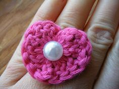What I Have Been Making And Wearing (Crochet Heart and Pearl Ring)