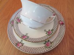 Stunning Antique Aynsley Trio Roses oban shape cup saucer tea plate | eBay