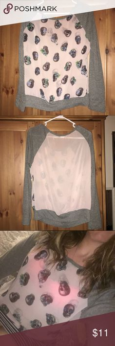 Light weight mesh long sleeve top w/ #skulls Size medium, pink and gray light weight mesh see through top. Skulls with flowers on the front. Perfect for a summer night. Can be worn with a cute tank top underneath, bando or #nothing  Joyce Leslie Tops Tees - Long Sleeve