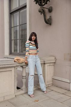 Spring casual outfit idea - striped cropped sweater, high waisted loose blue jeans, strappy white leather sandals, and neutral Bottega Veneta handbag #outfit #outfitidea #spring #casual #sweater #cropped #jeans #highwaisted Jean Outfits, Casual Outfits, Fashion Outfits, Women's Fashion, Viva Luxury, Casual Jeans, Sweater Weather, Winter Outfits, Mom Jeans