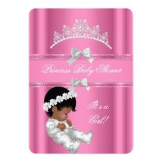 African American Princess Baby Shower Girl Pink 5x7 Paper Invitation Card