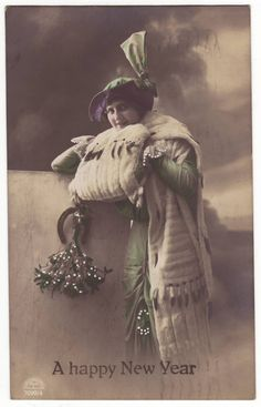 German postcard - Young lady wearing period winter outfit with hat, tinted new year card - Antique romantic art deco postcard - 1920 (B813)