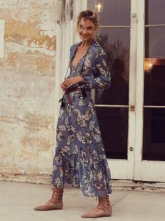 Vintage Floral Dress  Grey Printed Dress  Maxi Long Dress  Boho Bohemian Dress  Jocelyne Dress  Medium Dress  Summer Retro Dress