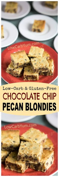 Chewy low carb gluten free chocolate chip pecan blondies that are quick and easy to prepare. No one will guess that these cookie bars are sugar free. | http://LowCarbYum.com