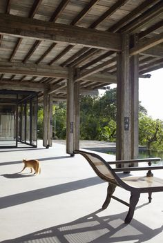 recycled timber beams & telephone pole posts, building bloc architects, langkawi (we know this house and love it! Timber Architecture, Timber Buildings, Architecture Design, Pole House, House Deck, Decks, Timber Posts, Timber Beams, Timber House