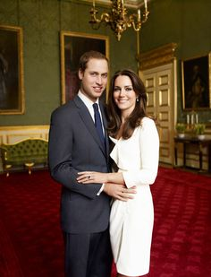 For their official engagement photos, Kate wore a cream colored Reiss dress.