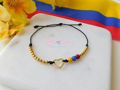 Colombian Bracelet with Small Heart Pulsera de Colombia Diy Jewelry, Beaded Jewelry, Jewelery, Beaded Necklace, Jewelry Making, Beaded Bracelets, Cement Jewelry, Gold Pendent, Cute Bracelets