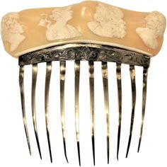 Georgian Cameo Hair Comb Silver Shell High Relief Classical  Portrait French