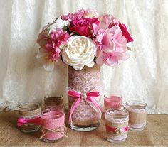 natural burlap and pink lace covered vase and tea candles wedding, bridal shower, baby shower decoration
