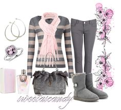 """""""pink and grey"""" by sweetlikecandycane ❤ liked on Polyvore"""