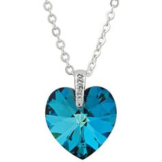 Bermuda blue crystal heart pendant necklace made with SWAROVSKI... ($12) ❤ liked on Polyvore featuring jewelry, necklaces, accessories, crystal stone necklace, heart necklace, crystal jewellery, crystal pendant necklace and blue crystal jewelry
