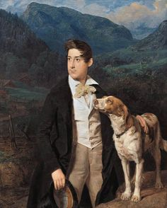 Waldmüller's Son Ferdinand with a Dog, 1836 by Ferdinand Georg Waldmuller (1793-1865).