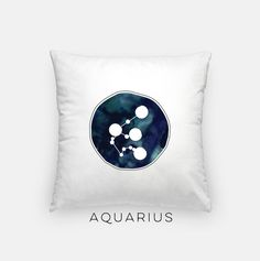 Aquarius watercolor pillow featuring the Aquarius constellation and a dark blue watercolor inspired by Aquariuss element of air  ________________________________________________________ GIMME ALL THE DETAILS:  —Indoor pillow measures 18x18 —Concealed zipper  —Outer case is machine washable - 80% polyester / 20% cotton fleece  —Made in the USA ________________________________________________________ ALSO AVAILABLE AS A....:  —canvas print (here: http://etsy.me/2brKRXa) —fr...