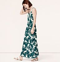 """Swallowtail Racerback Maxi Dress - We're feeling sky-high over this gracefully printed maxi. Scoop neck. Sleeveless. Removable self belt at waist. Racerback. 41"""" from natural waist."""