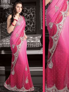 Pink Faux Shimmer Georgette Saree with Blouse